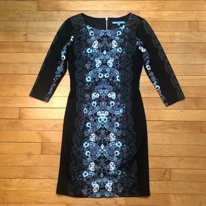ANTONIO MELANI Floral and Lace Print Shift Dress